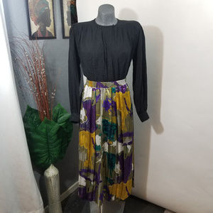 Vintage Skirt Abstract Print Green Size 12